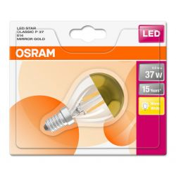 Osram LED 4W = 37W 240V SES E14 Mirror Gold Top Round Golf Ball Light Bulb
