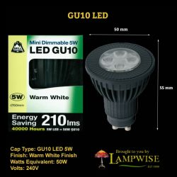 Bell 5w = 50w 240v Led Gu10 Warm White Dimmable 50mm Spot Lamp
