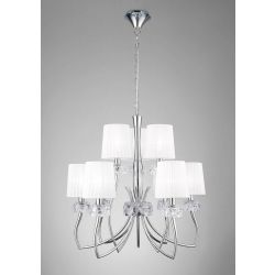 Mantra M4630 Loewe 2 Tier Pendant 6+3 Light E14, Polished Chrome With White Shades
