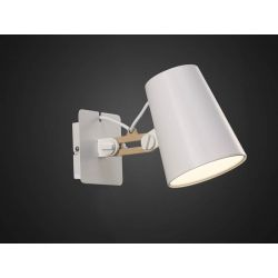 Mantra M3772/S Looker Wall Lamp Switched 1 Light E27 Single Arm, Matt White/Beech