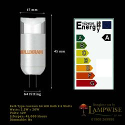 Luxram 2.5w G4 12v Low Voltage Led Capsule