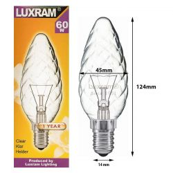 Luxram 60w SES/E14 C45 Twisted Clear Large Candle