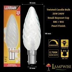 Luxram 25W 240V SBC/B15 Small Bayonet Twisted Pearl Candle Light Bulb