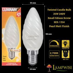 Luxram 25W 240V SES E14 Twisted Pearl Matt Candle Light Bulb