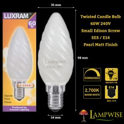 Luxram 60W 240V SES E14 Twisted Pearl White 35mm Candle Light Bulb
