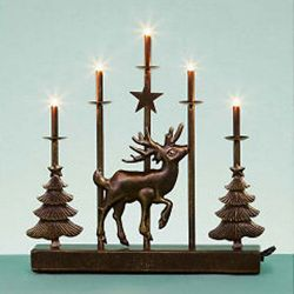 5 Light Reindeer Metal Candelabra