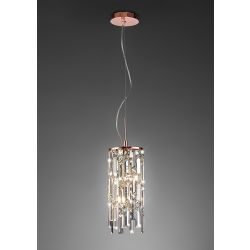 Diyas IL31713 Maddison Rose Gold/Crystal 2 Light G9 Cylinder Pendant Light