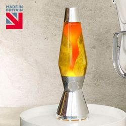 Mathmos Astro Lava Lamp-Yellow with Orange Lava