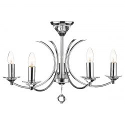Dar Lighting MED0550 Medusa 5 Light Dual Mount Pendant K9 Crystal Polished Chrome
