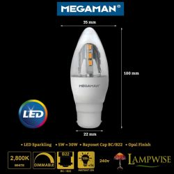 Megaman 5w Led Bayonet Cap BC/B22 Sparkling Light Effect Candle Bulb 5w = 30w