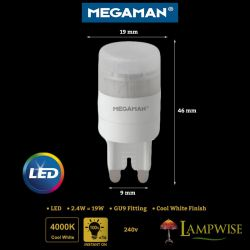 Megaman LED G9 2.4W = 19W Cool White 4000K 190 Lumen 15,000 hours