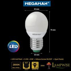 Megaman Led 3.5w Edison Screw ES/E27 Opal Golf Ball Bulb