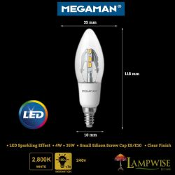 Megaman Led 4w Sparking Effect Candle Bulb E10 Fitting