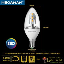 Megaman 5w Led SES/E14 Sparkling Light Effect Candle Bulb 5w = 30w