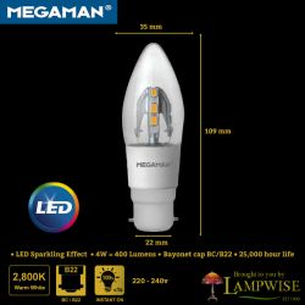 Megaman Incanda-LED 4W BC/B22 2800K Warm White Clear Candle Light Bulb