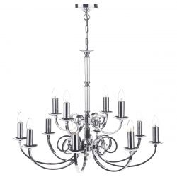 Dar Lighting MUR1250 Murray 12 Light Dual Mount Pendant Polished Chrome