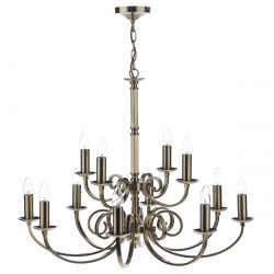 Dar Lighting MUR1275 Murray 12 Light Dual Mount Pendant Antique Brass