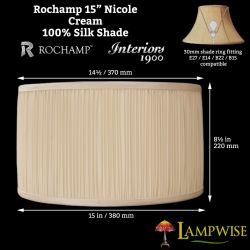Interiors 1900 Rochamp Nicole 15in Cream Mushroom Pleat Drum Silk Shade