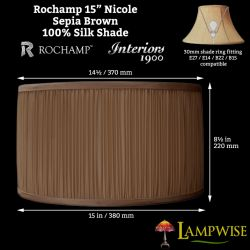 Interiors 1900 Rochamp Nicole 15in Sepia Brown Mushroom Pleat Drum Silk Shade
