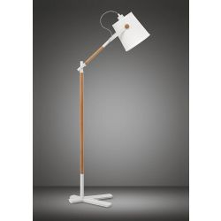 Mantra M4920 Nordica Floor Lamp With White Shade 1 Light E27, Matt White/Beech With Ivory White Shade