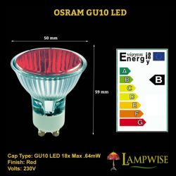 Osram 18w Led Gu10 Red Finish