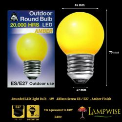 Bell 1 Watt ES E27 Amber Outdoor Round Bulb Led