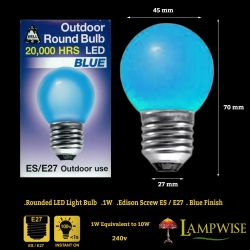 LED 1W 240V ES E27 Festoon Golf Ball Outdoor Round Blue Light Bulb 20,000 hours