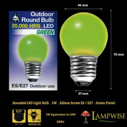 Bell 1 Watt ES E27 Green Outdoor Round Bulb Led