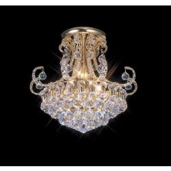 Diyas IL30007 Pearl French Gold / Crystal 12 Light Semi Flush Ceiling Light