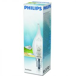 Philips Eco Halogen 28W SES E14 Bent Tip Candle Bulb, Dimmable Warm White