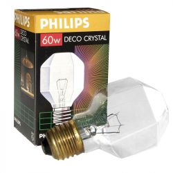 Philips Decorative Crystal Clear Light Bulb, Dimmable 60W 230V T55 ES E27