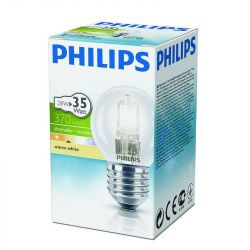 Philips 28W 240V ES E27 Energy Saver Halogen 45mm Round Clear Light Bulb
