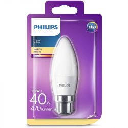 Philips 5.5W = 40W LED BC/B22 C35 Opal Candle Light Bulb Warm White