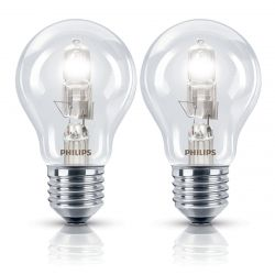 Philips 2x 28W GLS ES E27 Eco Halogen Light Bulbs, Dimmable Warm White