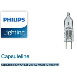 Philips Capsuleline 50W GY6.35 24V Clear Halogen Bulb 4000h 1CT/10X10F 13090