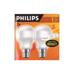 Philips Softone T55 T-Shape 40 Watt BC B22 Light Bulb (TWIN Pack)