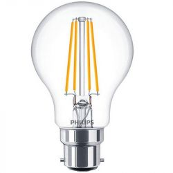 Philips 7.5W = 60W LED Filament A60 GLS B22 Clear Warm White 700 Lumens
