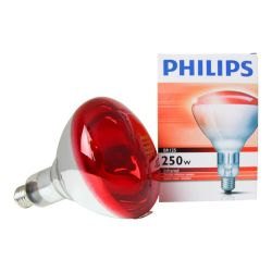 Philips Incandescent 230-250V BR125 250W Infrared Reflector Red IR Heat Lamp