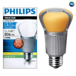 Philips Master LED 220-240V 12W = 60W ES/E27 Dimmable Warm White Light Bulb