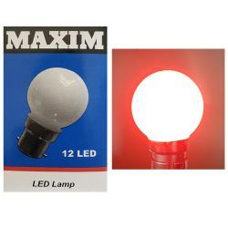 MAXIM Red Coloured LED 1-2W 240V BC B22 G45 Golf Ball Round