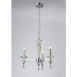 Diyas IL30593 Renzo Polished Chrome 3 Light Pendant Semi-Flush Convertible