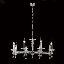 Diyas IL30598 Renzo Polished Chrome 8 Light Pendant Semi-Flush Convertible