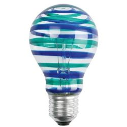 EGLO 85934 40W 240V ES E27 GLS Green & Blue Horizontal Stripes Coloured Hand Painted Light Bulb
