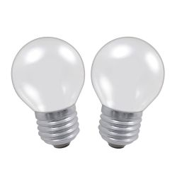 2x 60W 230V ES E27 45mm Round Opal Light Bulbs Twin Pack