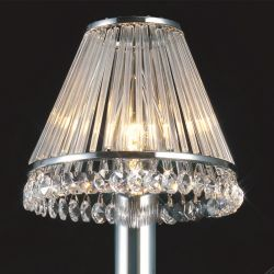 Diyas IL30100 Crystal Shades Polished Chrome/Crystal Clip-On Shade With Clear Glass Rods