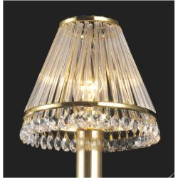 Diyas IL30200 Crystal Shades French Gold Clip-On Shade With Clear Glass Rods