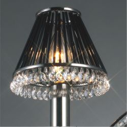 Diyas IL30900 Crystal Black Chrome/Crystal Clip-On Shade With Black Glass Rods