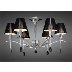 Mantra M0344 Siena Semi Ceiling Round 6 Light E14, Polished Chrome With Black Shades And Black Crystal