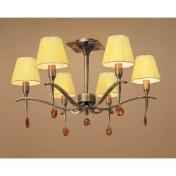 Mantra M0344AB Siena Semi Ceiling Round 6 Light E14, Antique Brass With Amber Cream Shades And Amber Crystal