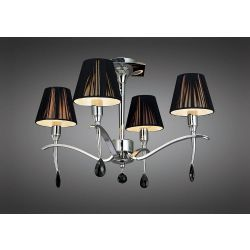 Mantra M0345 Siena Semi Ceiling Round 4 Light E14, Polished Chrome With Black Shades And Black Crystal